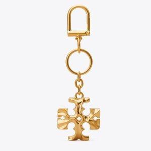 {Tory Burch} Kiara Gold Carved Key Fob / Bag Charm